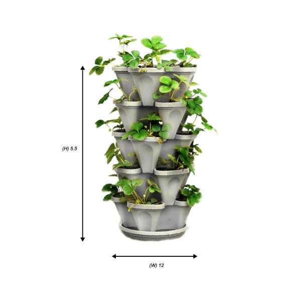 Mr Stacky 12 In X 5 5 In Stone Plastic Vertical Stackable Planter 5 Pack P 325 13 5 The Home Depot