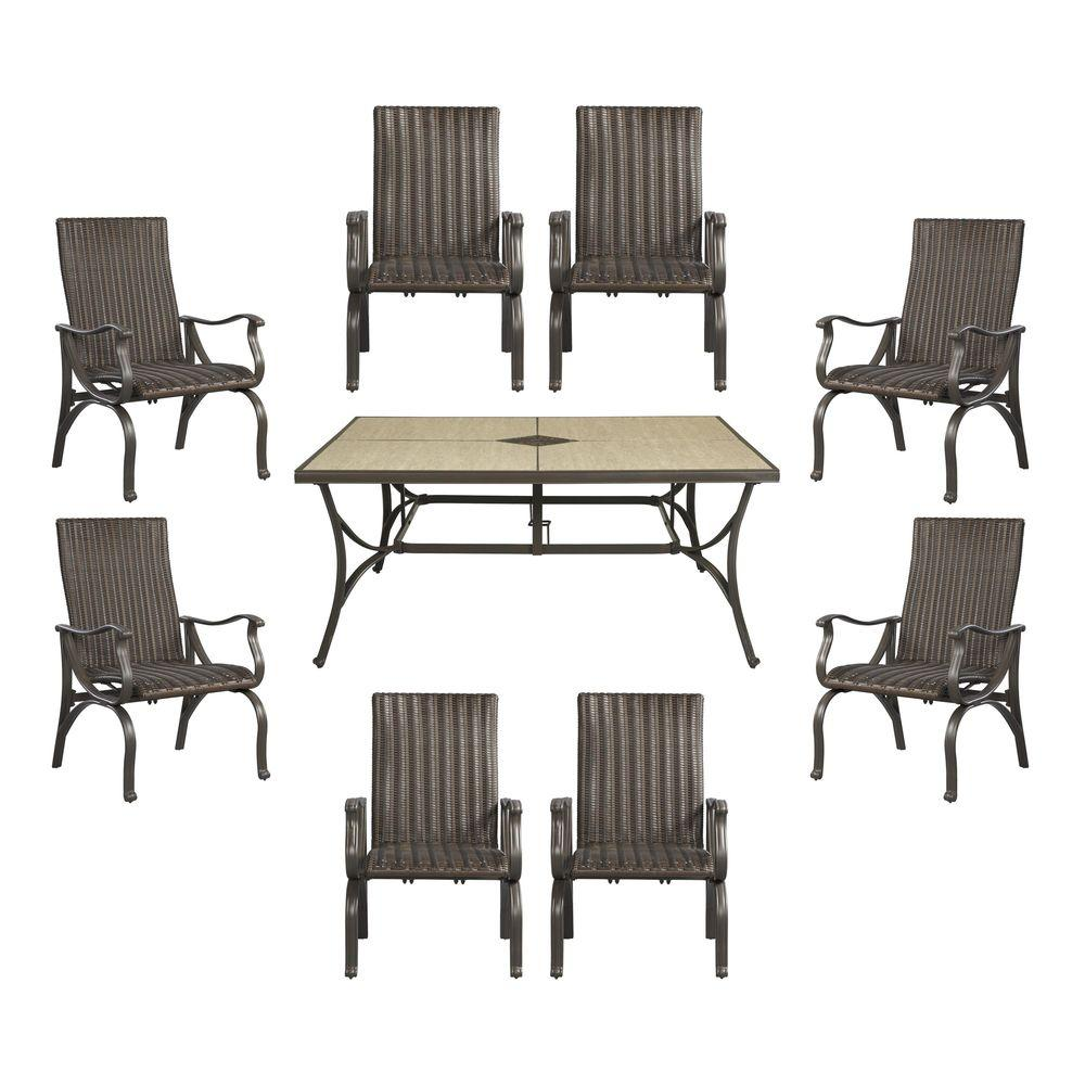 Hampton bay pembrey 9 piece patio dining set hd14227 the for Jardin 8 piece dining set