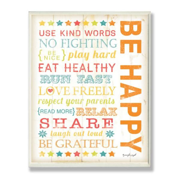12.5 in. x 18.5 in. ''Be Happy Typography'' by Jennifer Pugh Printed Wood Wall Art