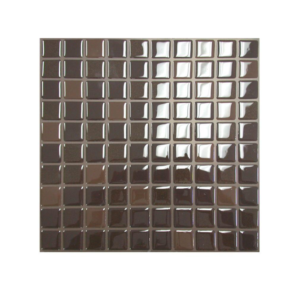 Smart Tiles 9.85 in. x 9.85 in. Mosaic Decorative Wall Tile in Brown
