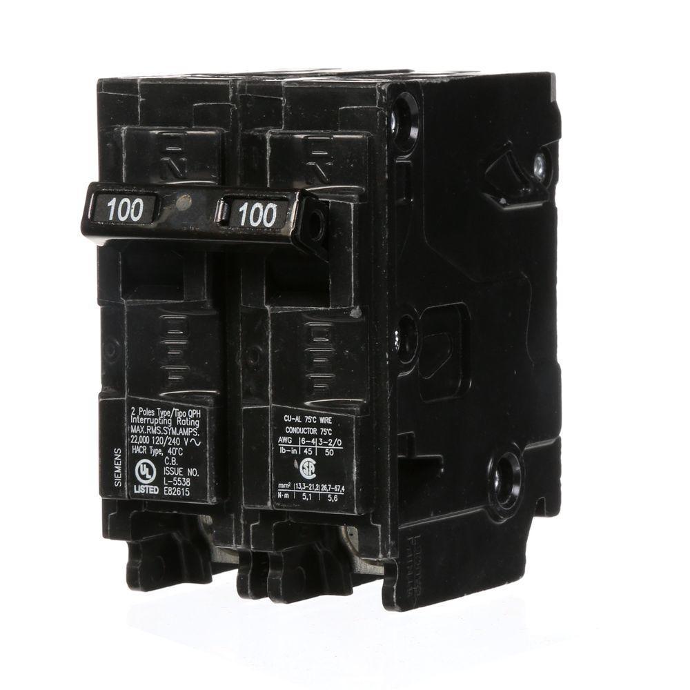 100 Amp Double-Pole Type QPH 22kA Circuit Breaker