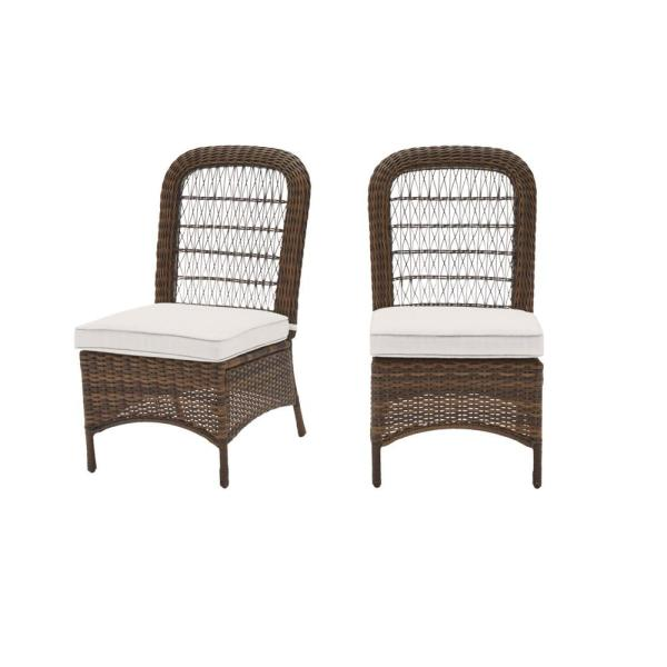 Beacon Park Brown Wicker Outdoor Patio Armless Dining Chair with CushionGuard Chalk White Cushions (2-Pack)