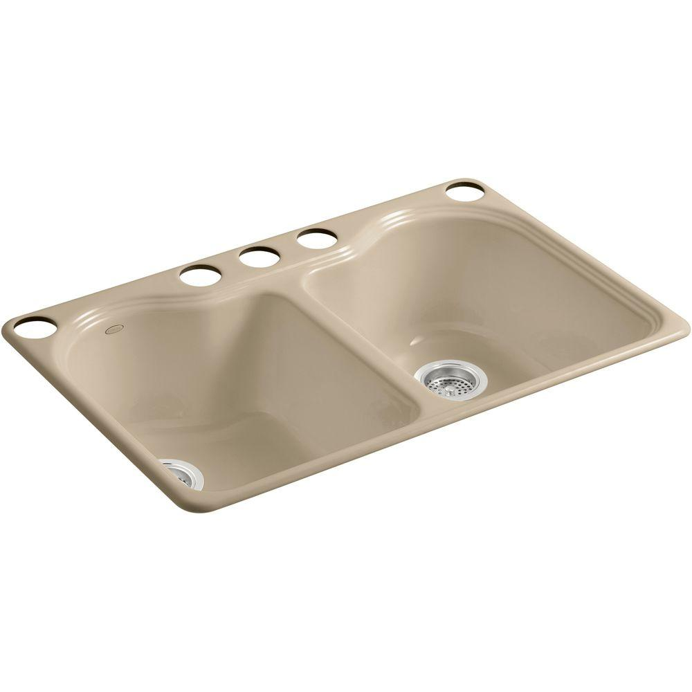 KOHLER Hartland Undermount Cast Iron 33 in. 5-Hole Double Basin Kitchen Sink in Mexican Sand