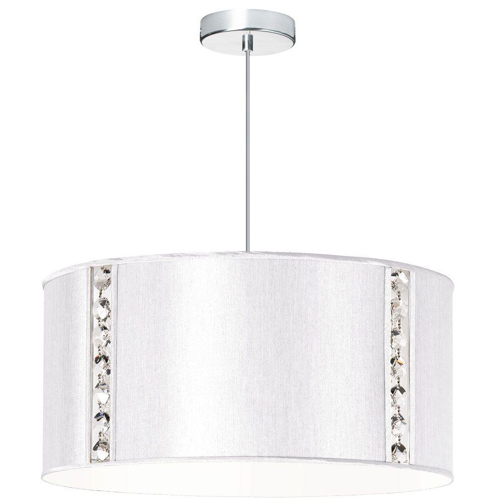 Elise 3-Light Pearl Pendant with Crystal Accents and Silk Glow Drum