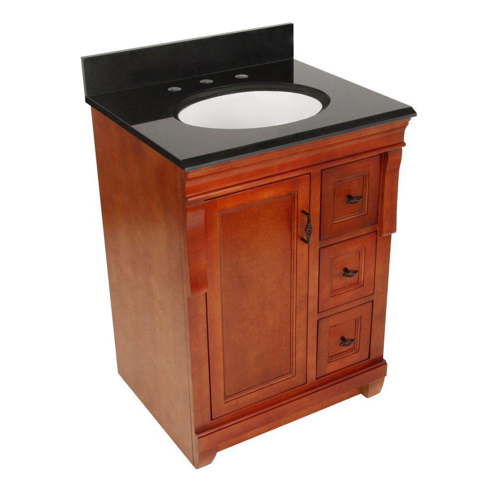 Naples 25 in. W x 22 in. D Vanity in Warm Cinnamon with Granite Vanity Top in Black