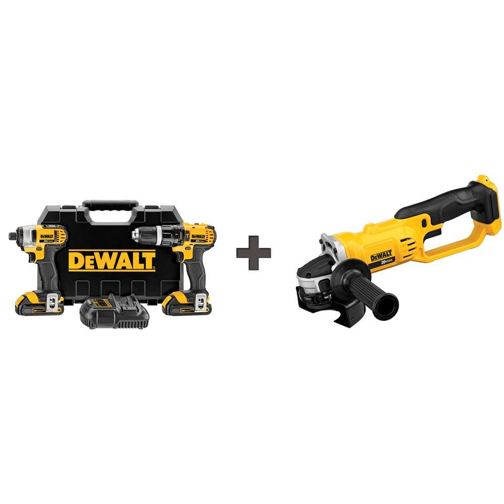 DEWALT 20-Volt MAX Lithium-Ion Cordless Combo Kit (2-Tool) with (2) Batteries 1.5Ah, Charger, Case and Bonus Cut-Off Tool