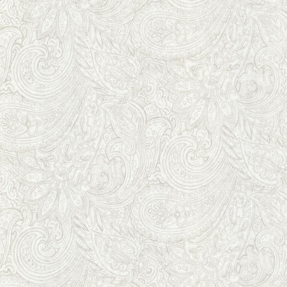 8 in. x 10 in. Lula Light Grey Paisley Wallpaper Sample