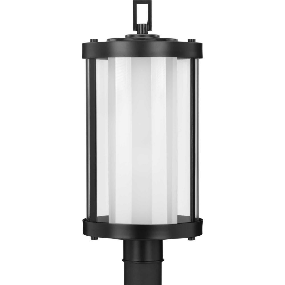 Irondale Line Voltage Black 1-Light 4 in. x 4 in. Deck Post Light Lantern