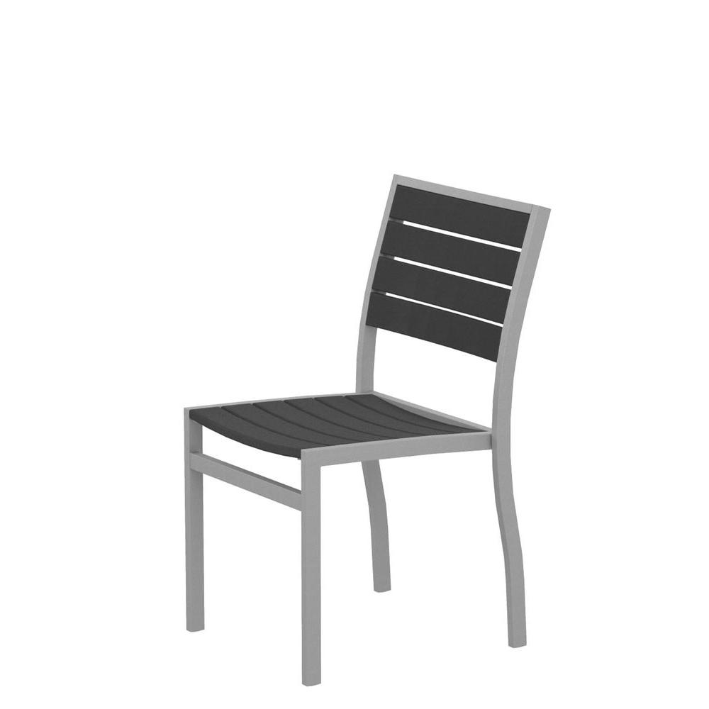 Euro Textured Silver All-Weather Aluminum/Plastic Outdoor Dining Side Chair in