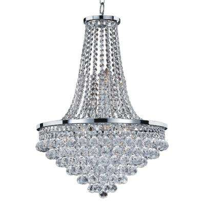 Vista 9-Light Faceted Crystal Ball and Chrome Frame Chandelier