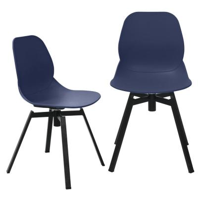 Joy Series Navy Dining Shell Side Chair Designer Task Chair with Black Metal Legs (Set of 2)