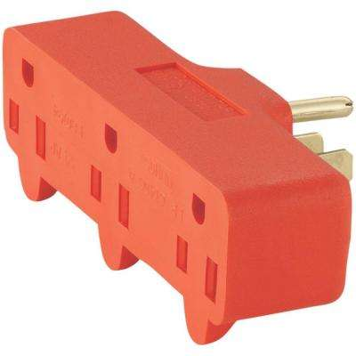 15 Amp 125-Volt 5-15 Three Outlet Tap - Orange
