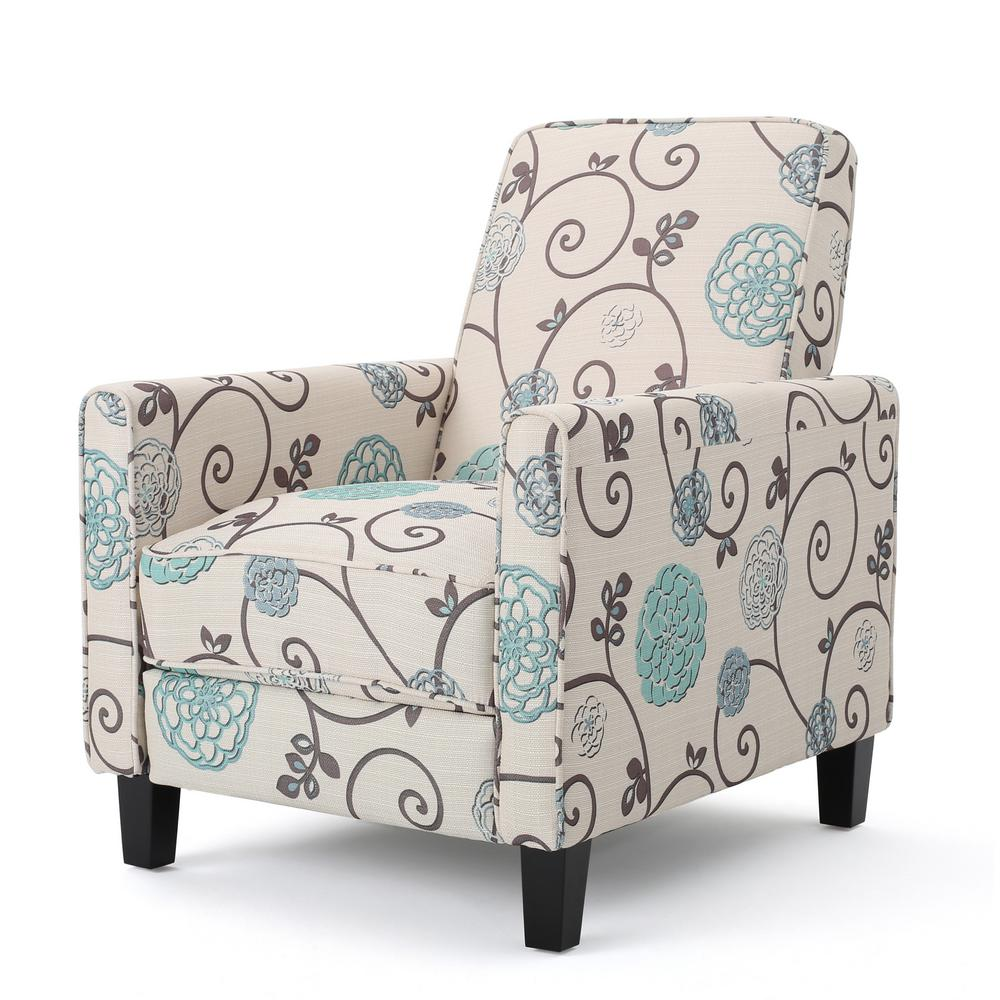 Noble House Darvis White and Blue Floral Fabric Recliner 11909 The Home Depot