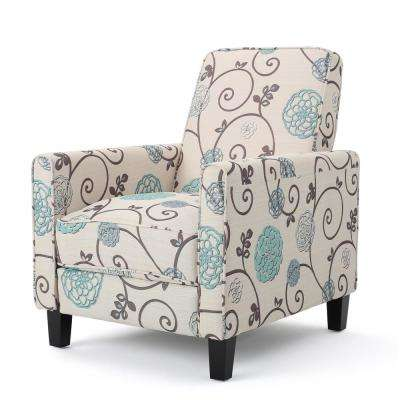 Darvis White and Blue Floral Fabric Recliner