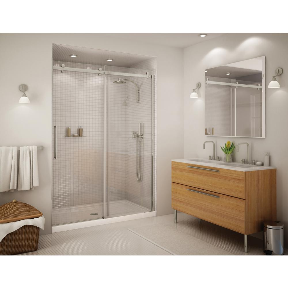 Alpine 56.5 in. - 59 in. x 75 in. Frameless Sliding Shower Door in Brushed Nickle