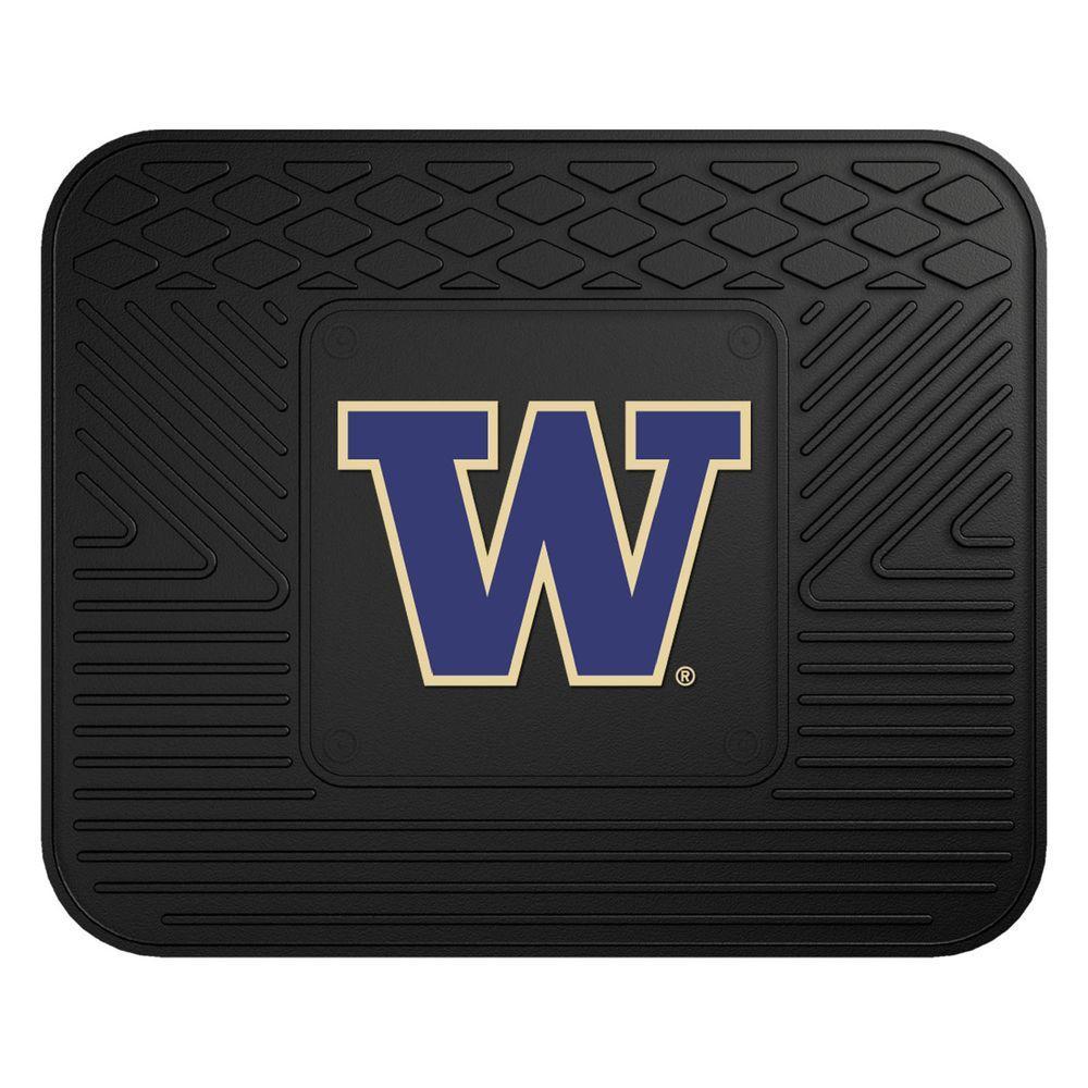 NCAA University of Washington Black Heavy Duty 1-Piece 14 in. x 17 in. Vinyl Utility Mat