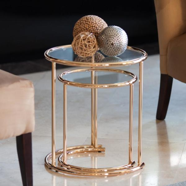 Set of 2 Round Nesting Tables End Decrorative Glass Top Side Adeco Neting Accent Gold