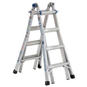 Werner 5-in-1 Telescoping 18 ft Aluminum Multi-Position Ladder with 375 lbs