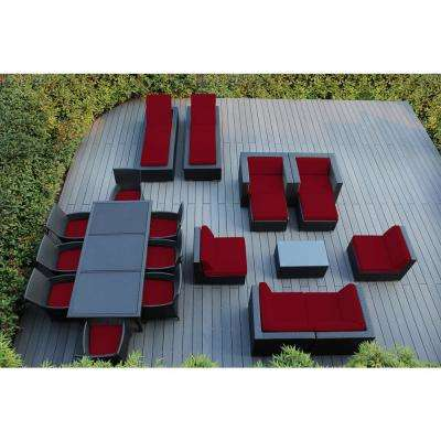 Black 20-Piece Wicker Patio Combo Conversation Set with Spuncrylic Red Cushions