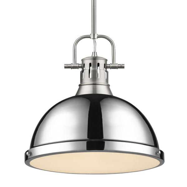 Duncan 1-Light Pendant with Rod in Pewter with a Chrome Shade