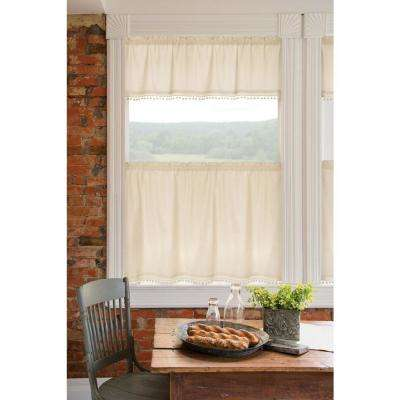 Vintage Pom Pom 55 in. L Polyester Valance in Cream