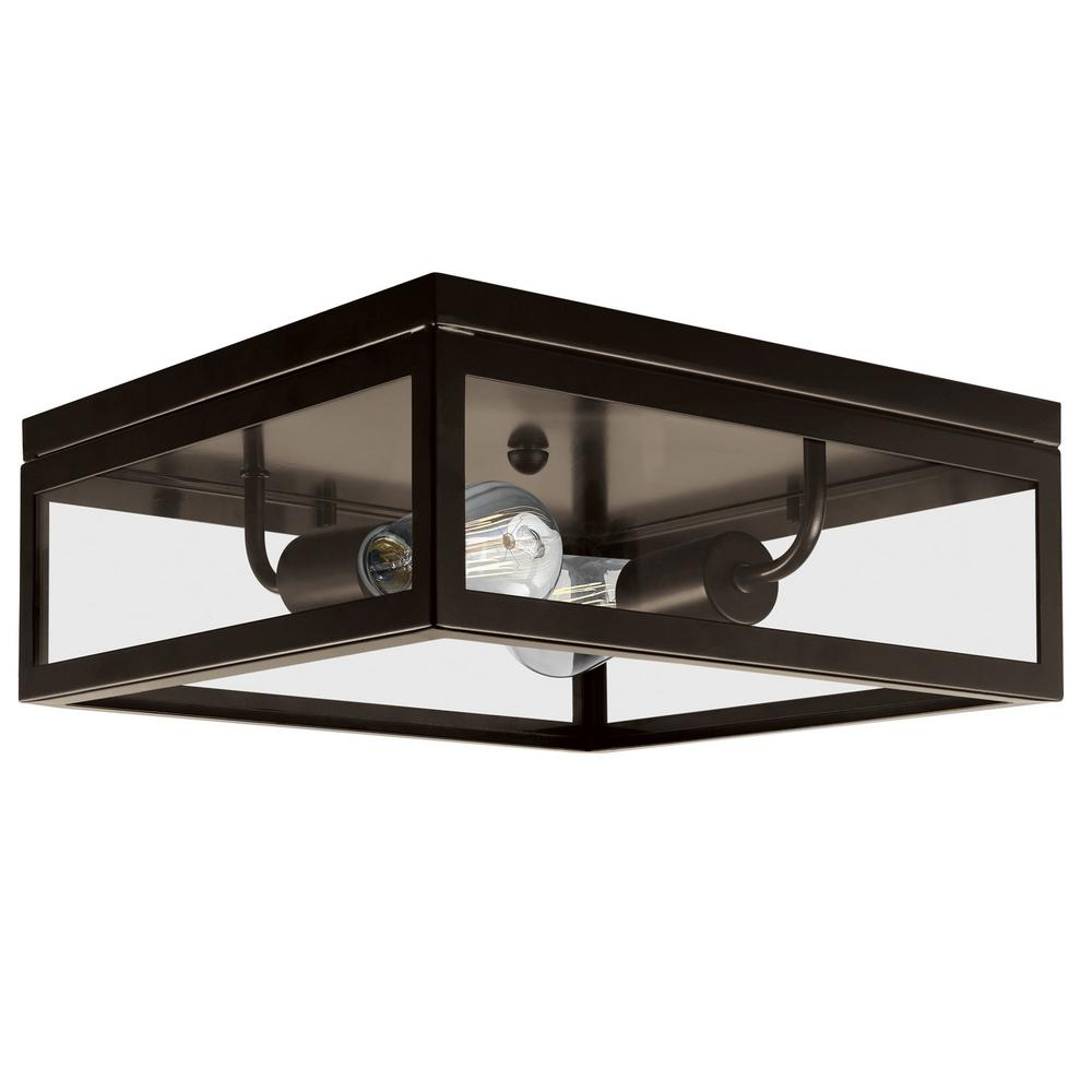 globe electric memphis 2 light dark bronze flush mount ceiling light