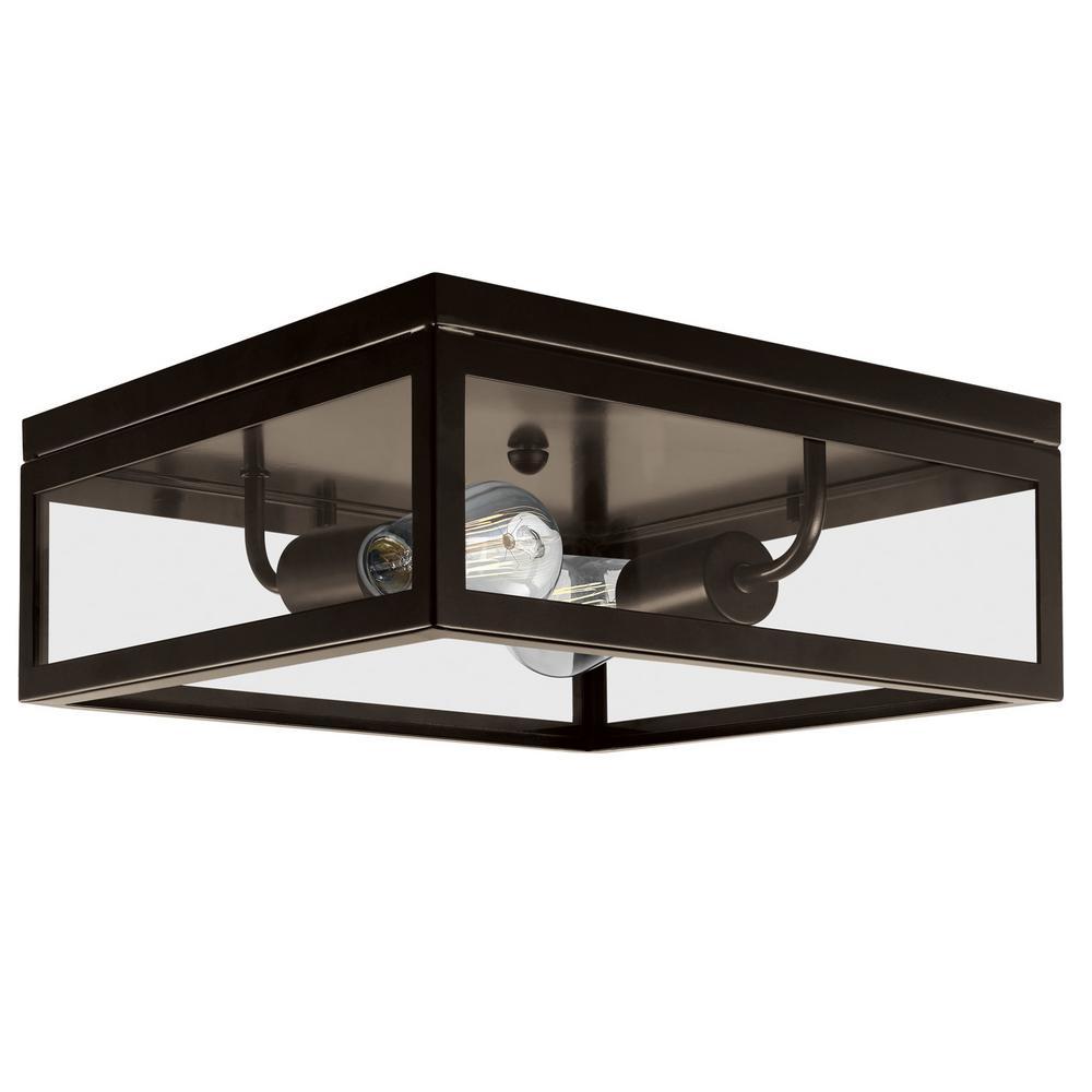 Square flushmount lights lighting the home depot memphis 2 light dark bronze flush mount ceiling light aloadofball Gallery