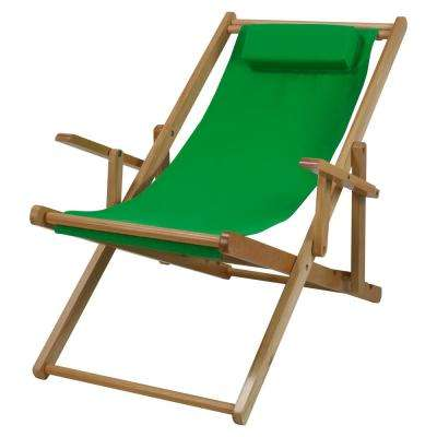 Natural Frame and Green Canvas Solid Wood Sling Chair