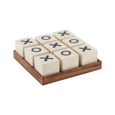 Crossnought 8 in. x 8 in. x 3 in. Cream and Natural Stain Decorative Tic-Tac-Toe Game