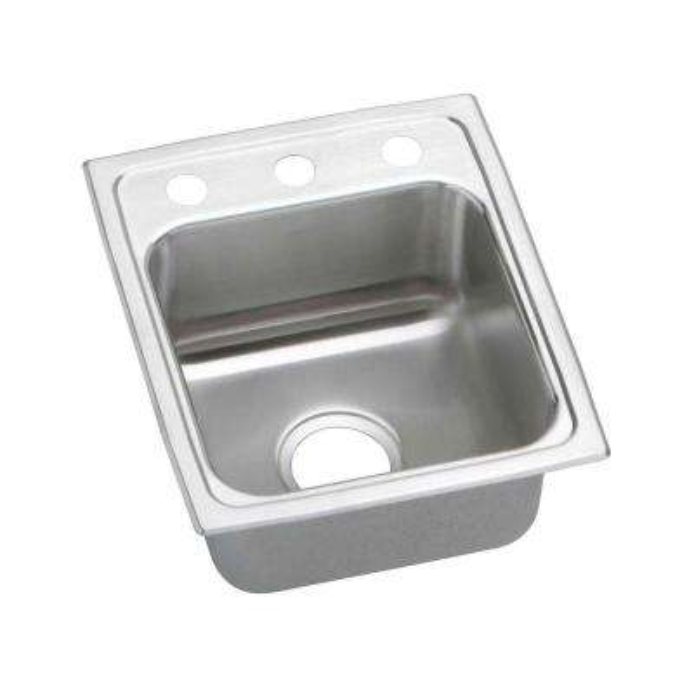 Lustertone Drop-In Stainless Steel 13 in. 1-Hole Single Bowl Kitchen Sink