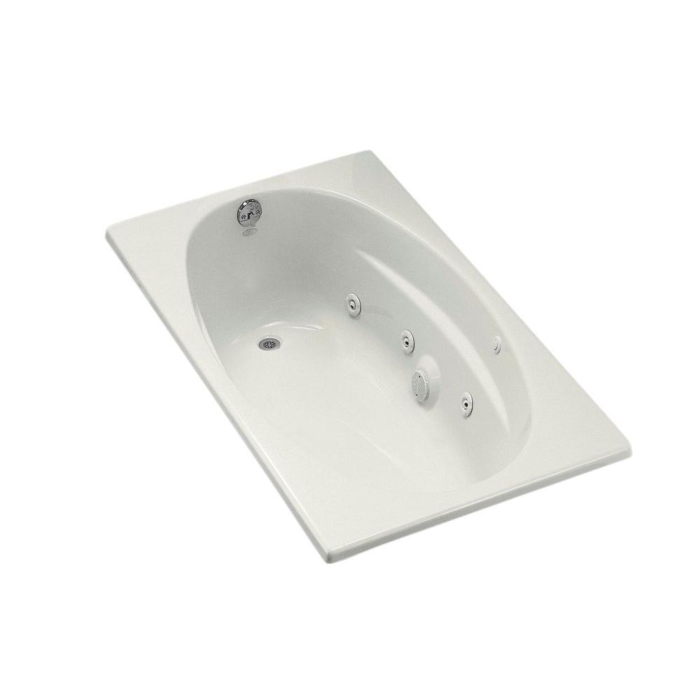 KOHLER 5 ft. Acrylic Oval Drop-in Whirlpool Bathtub in White-K-1139 ...