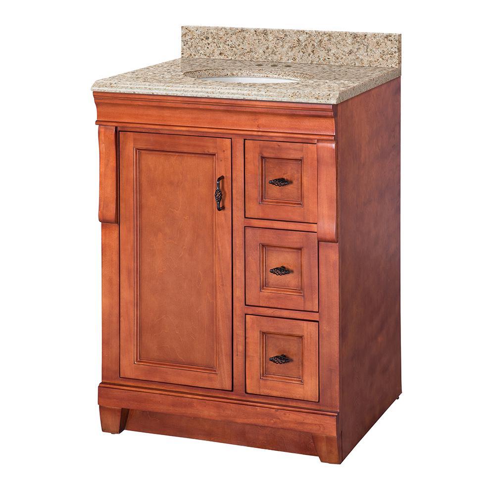 Naples 25 in. W x 22 in. D Vanity in Warm Cinnamon with Granite Vanity Top in Beige with White Sink