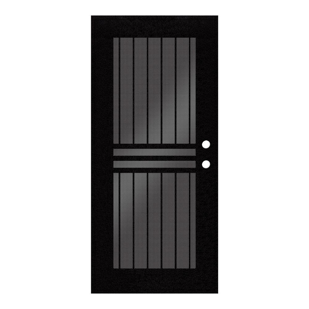 Unique Home Designs 30 in. x 80 in. Plain Bar Black Left-Hand Surface Mount Aluminum Security Door with Black Perforated Screen