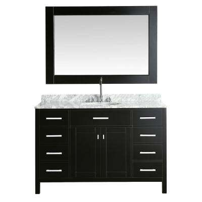 London 54 in. W x 22 in. D Vanity in Espresso with Marble Vanity Top in Carrera White with White Basin and Mirror