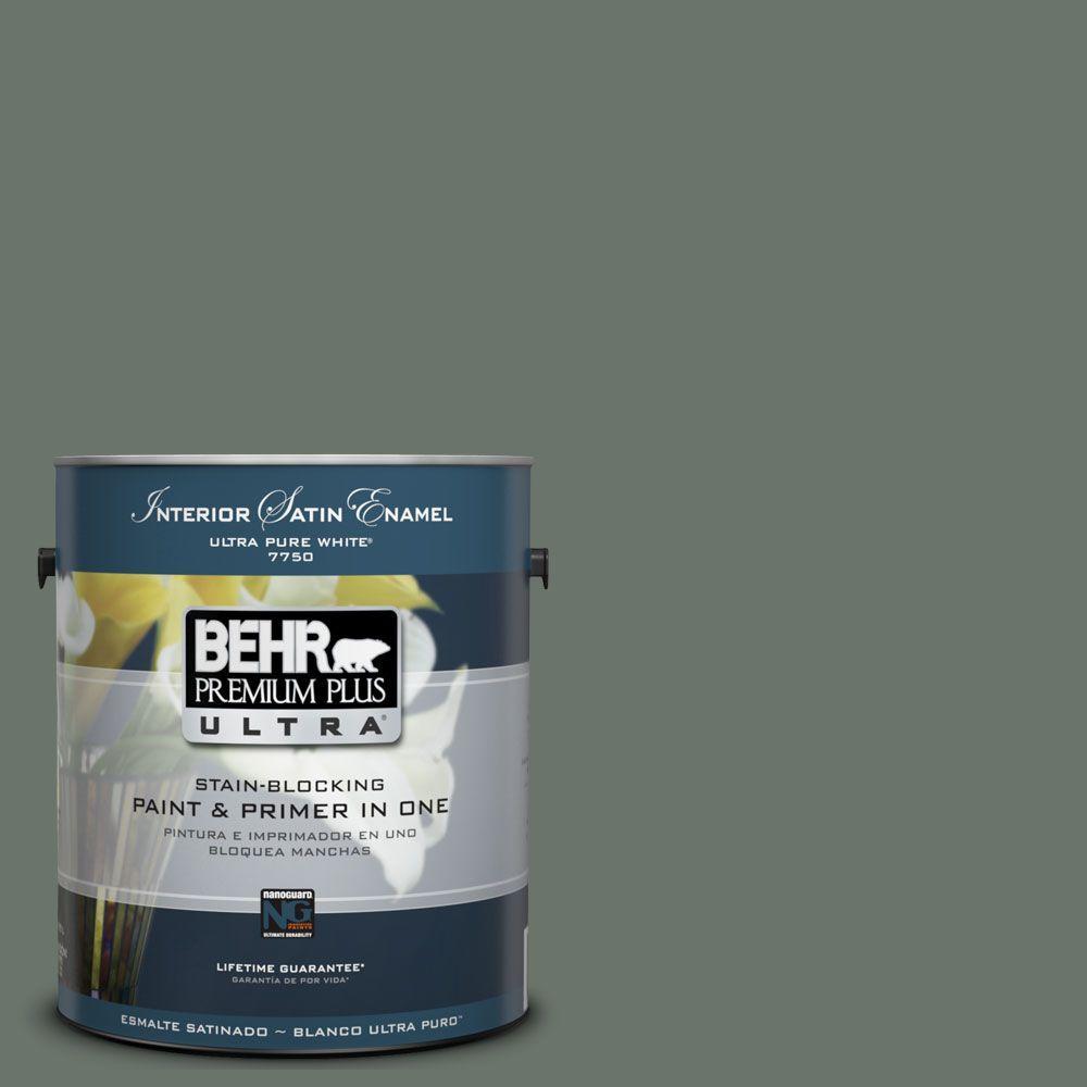 BEHR Premium Plus Ultra 1 gal. #UL210-3 Heritage Park Satin Enamel Enamel Paint and Primer in One