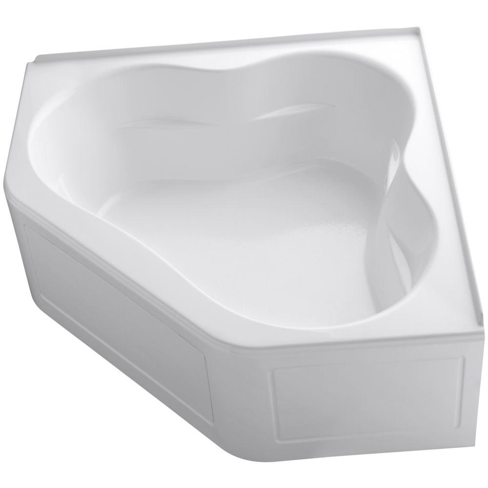 KOHLER Tercet 5 ft. Center Drain Corner Alcove Bathtub in White-K ...