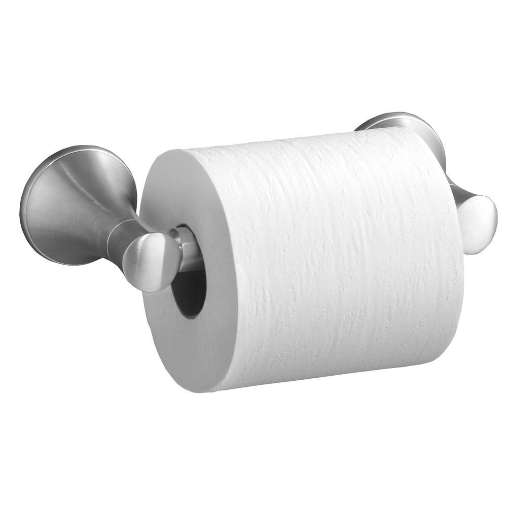 Coralais Wall-Mount Double Post Toilet Paper Holder in Brushed Chrome