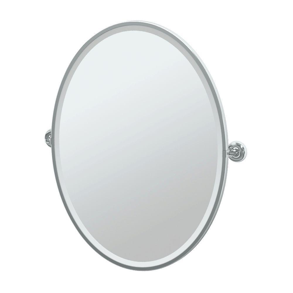 Designer II 29 in. x 33 in. Framed Single Large Oval Mirror in Chrome