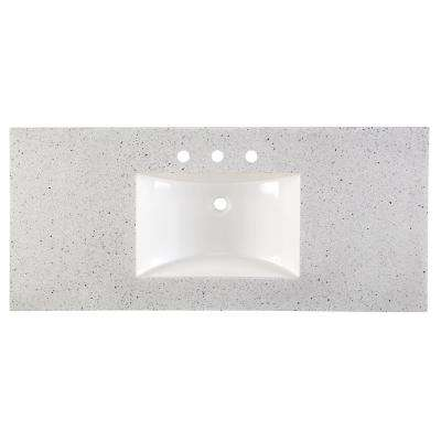 49 in. Solid Surface Vanity Top in Silver Ash with White Basin
