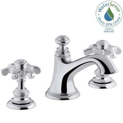 Artifacts 8 in. Widespread 2-Handle Bell Design Bathroom Faucet in Polished Chrome with Prong Handles