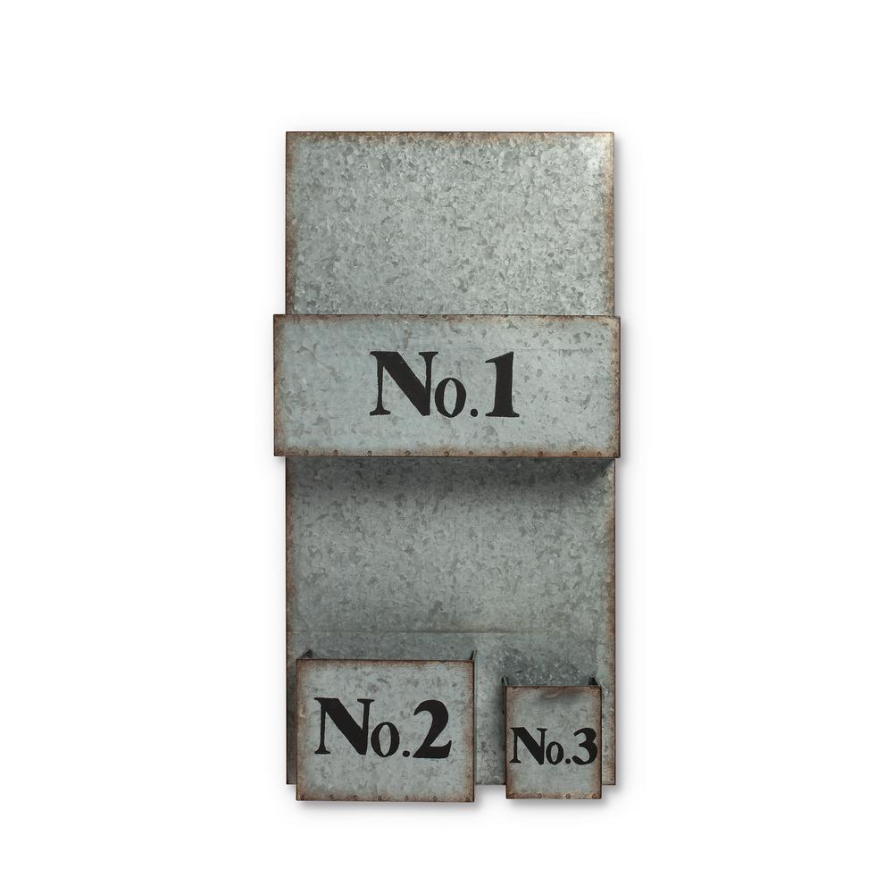 13 in. x 26 in. Galvanized Metal Three Pocket Wall Organizer