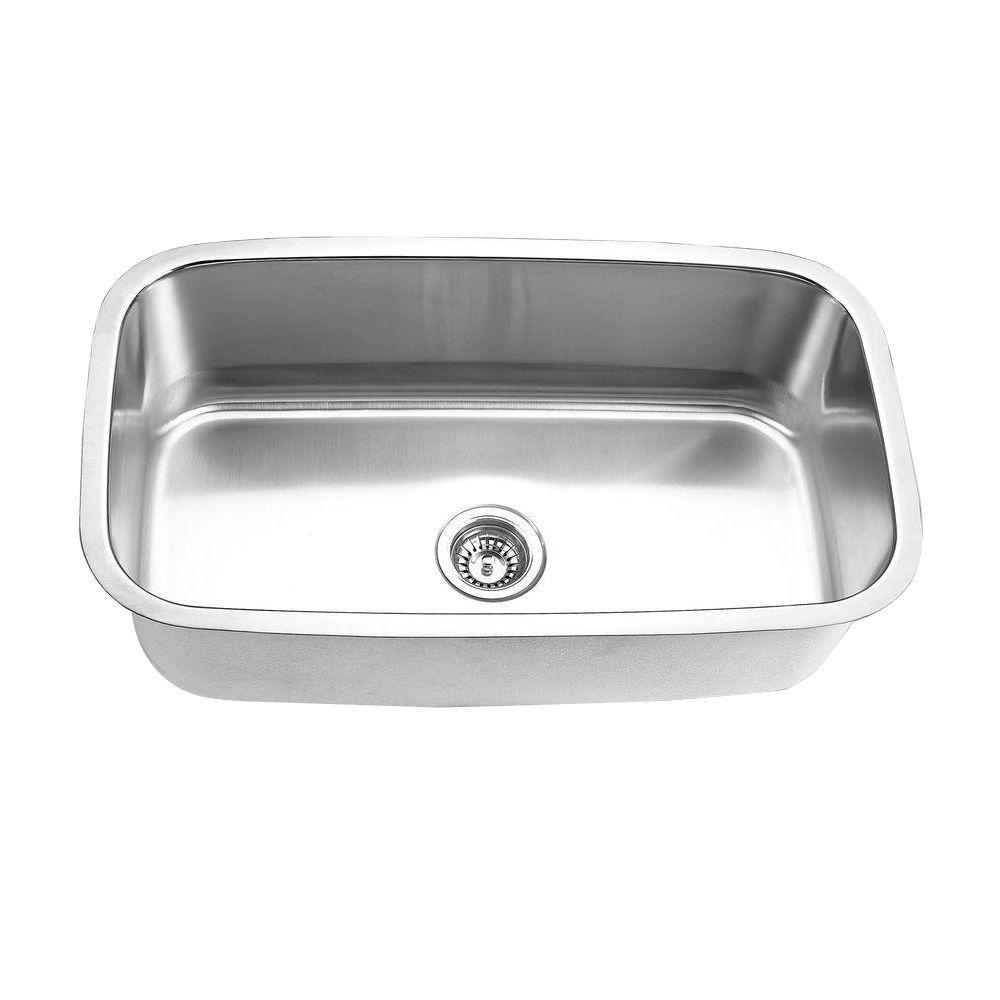 Undermount Stainless Steel 32 in. Single Bowl Kitchen Sink in Satin