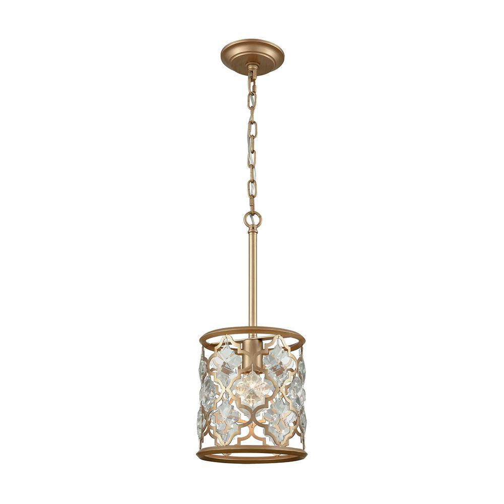 An Lighting Armand 1 Light Matte Gold With Clear Crystal Pendant