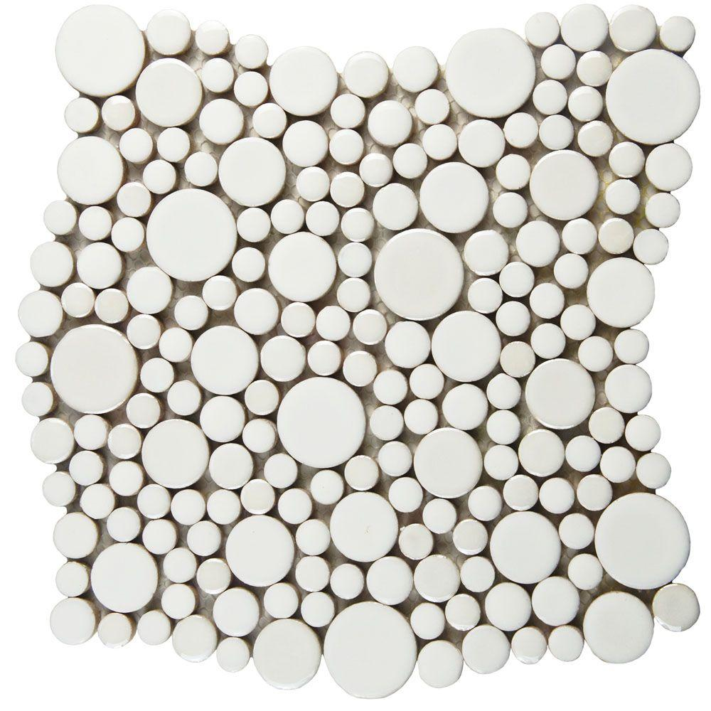 Perfect Merola Tile Cosmo Bubble White 11-1/4 in. x 12 in. x 8 mm  ZN54