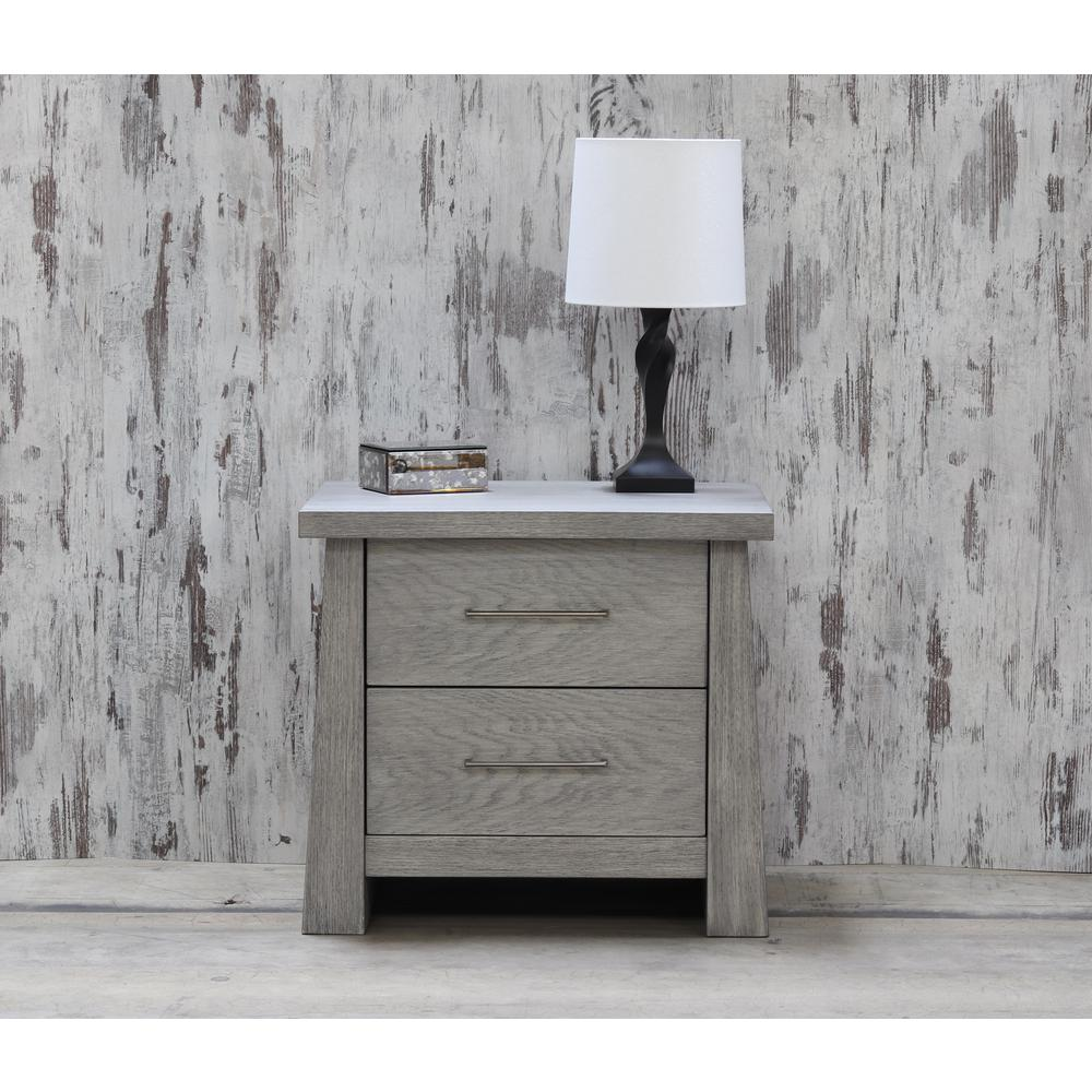 Fusion 2 Drawer Driftwood Nightstand 8122DW The Home Depot