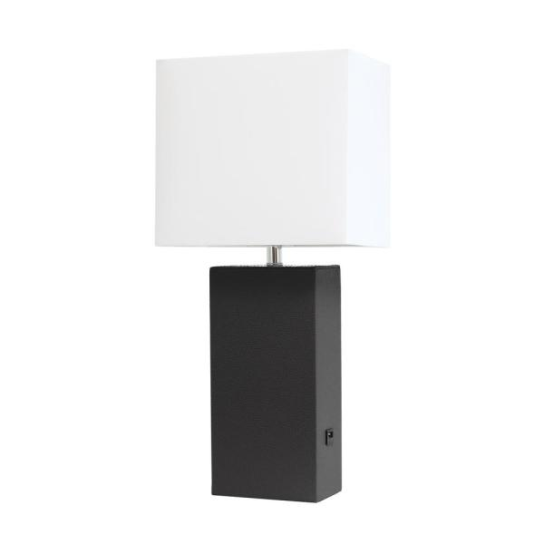 Elegant Designs Monaco Avenue 21 In Modern Black Leather Table Lamp With White Fabric Shade Lt1025 Blk The Home Depot