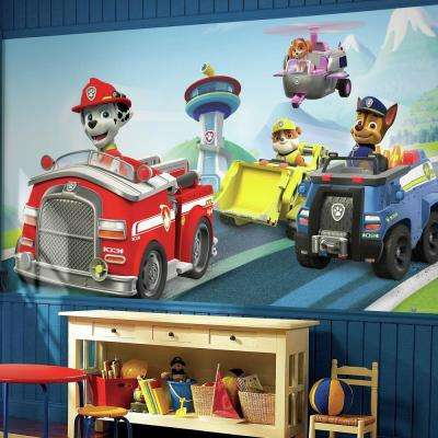 72 in. W x 126 in. H Paw Patrol XL Chair Rail 7-Panel Prepasted Wall Mural