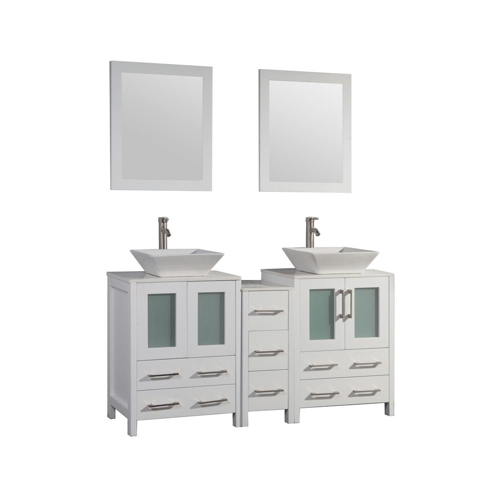 Vanity Art Ravenna 60 in. W x 18.5 in. D x 36 in. H Bathroom Vanity in White with Double Basin Top in White Ceramic and Mirrors