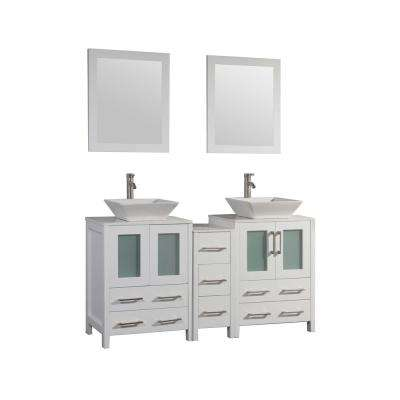 Ravenna 60 in. W x 18.5 in. D x 36 in. H Bathroom Vanity in White with Double Basin Top in White Ceramic and Mirrors