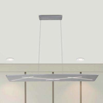 48W Tureis Collection 45 in. Silver Integrated LED Adjustable Modern Linear Chandelier